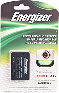 Energizer ENB-CE12 Digital Replacement Battery LP-E12 for Canon EOS M Digital Mirrorless Camera (Black)