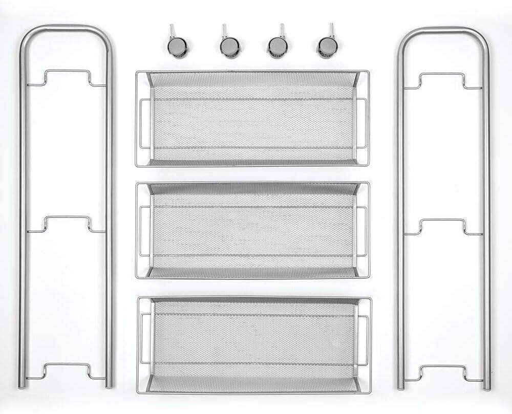 Carrello con Ruote per Lavanderia e Cucina mDesign Pratico scaffale in Metallo a 3 Scomparti Bianco Sostituisce Perfettamente Gli scaffali per Garage o Lavanderia