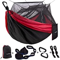 Sunyear Single or Double Camping Hammock with Mosquito/Bug Net 10ft Hammock Tree Straps and Carabiners, Easy Assembly, Portable Parachute Nylon Hammock (Red/Black)