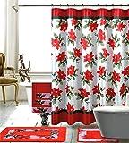 Season's Greetings 18 Piece Embroidery Bath Set 1 Bath Mat , 1 Contour Mat , 1 Shower Curtain , 12 Matching Fabric Shower Rings , 3 Piece Matching Towel Seat Small to Large (poinsettia flower)