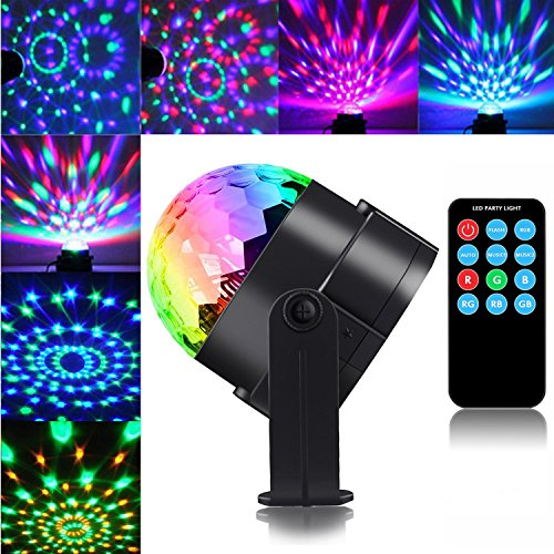 Disco Party Lights, PUAO Mini DJ Stage Lights 3W LED RGB Sound Active Crystal Party Lamp Magic Rotating Glitter Ball Lights with Remote for Decoration Halloween Xmas Kids Party Club Karaoke (RGB, 3W)