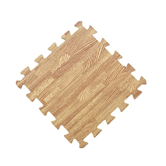 Soft Wood Interlocking Foam Tiles EVA Foam Floor Mats (8.64 Sqft, 9 Tiles)