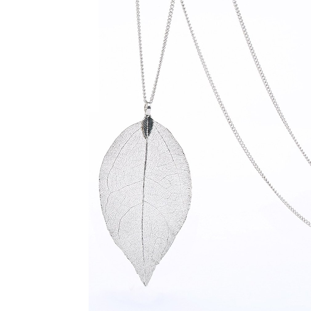 Platinum Dipped Birch Natural Leaf Pendent & Necklace with Siver-Plated Chain Women Costume Jewelry DAYONE JEWELRY LTD 1014S98BYKK