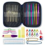 Arts & Crafts : 22 Aluminium Crochet Hooks with Case. Multicolor, Smooth Needles for Superior Results & 26 Knitting Accessories