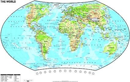 Vade de sobremesa con diseño de mapamundi, 62,5 x 41,5 cm, 1 unidad: Amazon.es: Oficina y papelería