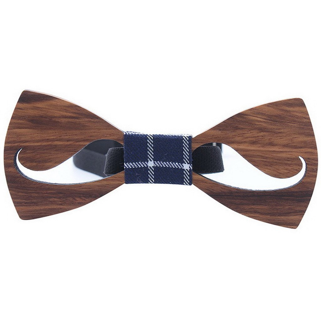 Ukerdo Hollow Wood Bow Tie Moustache Wooden Bowtie Anniversary Birthday Gift (B) WoodBowtie-070