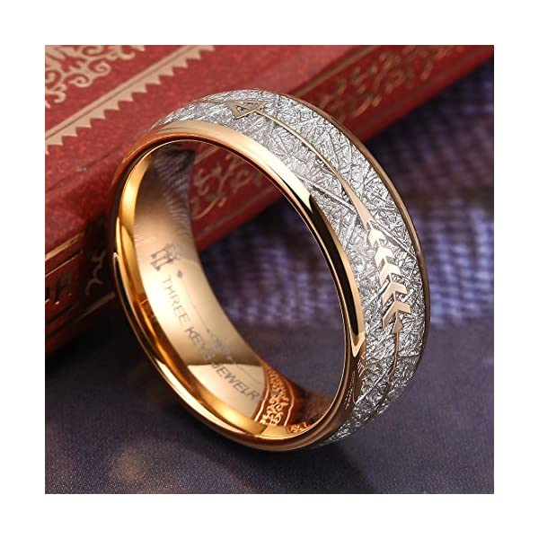 Three Keys Jewelry 8mm Imitated Meteorite Arrows Inlay Mens Tungsten Wedding Ring Band Gold Polished