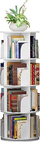 White Creative revolving Bookshelf 360 Degree Bookcase Simple Shelf Floor Multi Store White Books