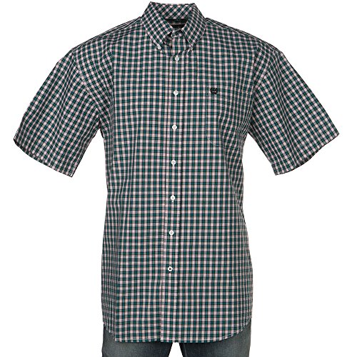 Cinch Men's Classic Fit Short Sleeve Button One Open Pocket Plaid Shirt, Teal, L
