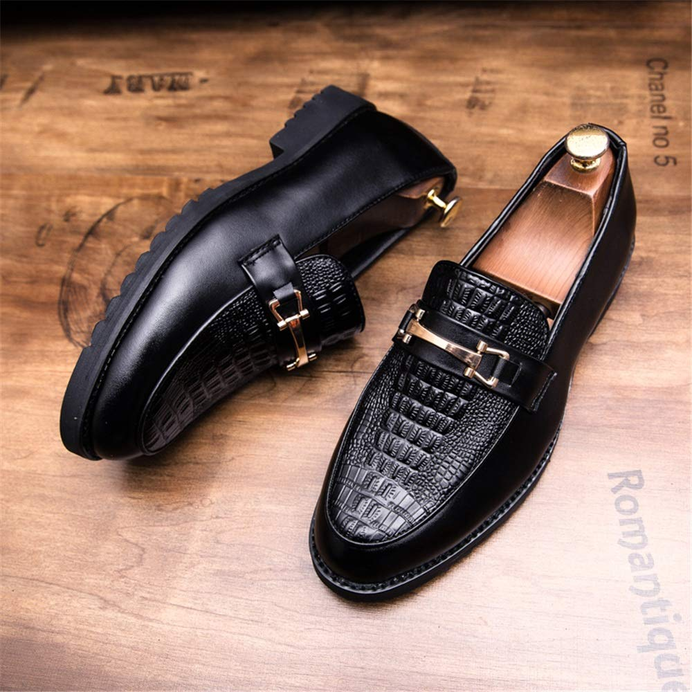 Fang-shoes, 2018 Zapatos Hombre, Hombres Slip Metal Hebillas Decoración Frente Cocodrilo Imprimir Ocio Zapatos Business Oxfords Confortable Casual (Color ...