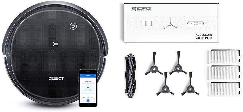 ECOVACS DEEBOT 500 Robotic Vacuum Cleaner with Max Power Suction, Up to 110 min Runtime, Hard Floors with DEEBOT Buddy Kit for N79/N79S/N79W/DEEBOT 500