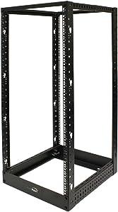 NavePoint 25U Professional 4-Post IT Open Frame Server Network Relay Rack 4.5 Feet Tall Black