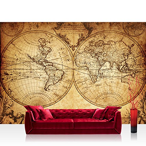 Photo wallpaper - world map atlas old - 157.4