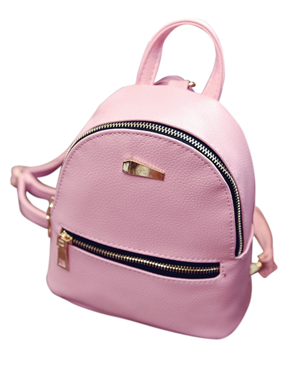 ShiningLove Cute Concise PU Leather Travel Backpack For Teenagers Girls Candy Color Shoulder Bag Casual Daypack Black by ShiningLove (Image #2)