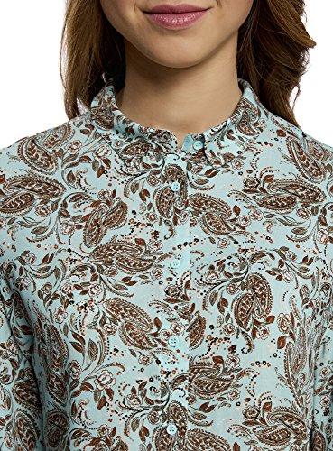oodji Ultra Mujer Blusa Estampada de Viscosa Turquesa (7333E)