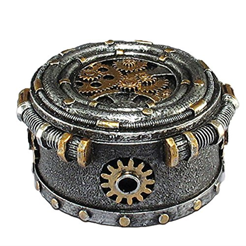 (LCM Steampunk Trinket Jewelry Box Silver and Gold 4.5