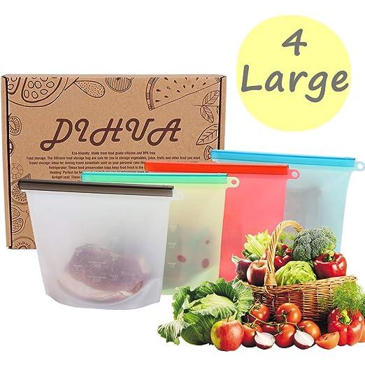 DiHua - Bolsa de almacenamiento de silicona reutilizable, 4 bolsas ...