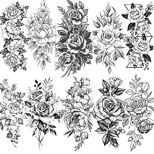 VANTATY 10 Sheets 3D Big Rose Peony Flower Girls Temporary Tattoos For Women Waterproof Black Tattoo Stickers 3D Blossom Lady Shoulder Tatoos Leaf DIY Costom Sexy Arm Chains Pattern.