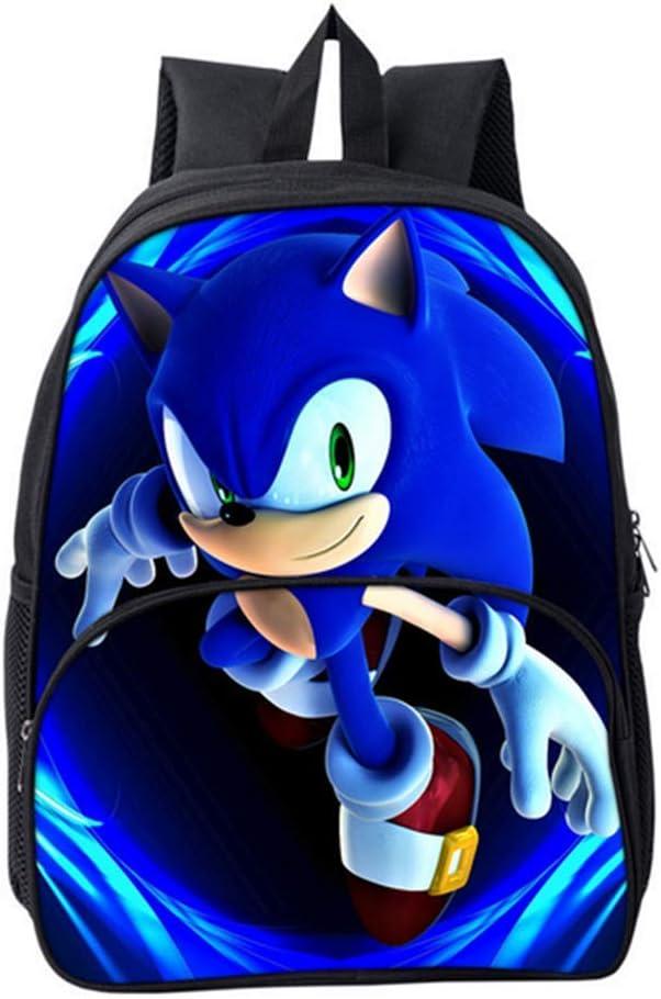 HGYYIO 3D Anime Sonic Impreso Mochila de la Escuela Primaria//Mochila para Ni/ños ni/ñas 6-12 a/ños de Edad Impermeable Nylon Cartera Ni/ños Viajar Mochila,E