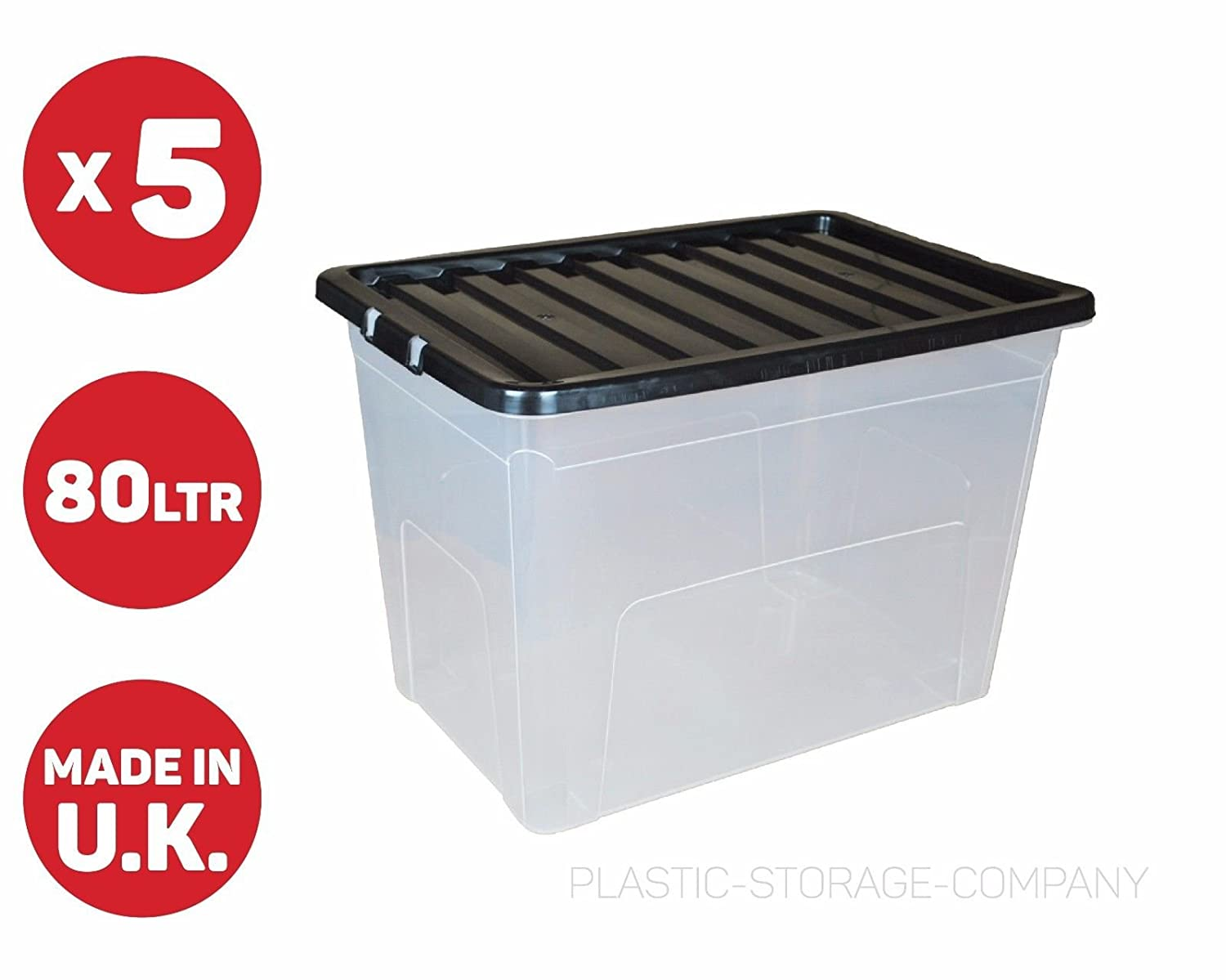 5 x 80 Litre Plastic Storage Box - Extra Large - Storage Container - Black Lid - Cheap Viss