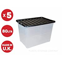 5 x 80 Litre Plastic Storage Box - Extra Large - Storage Container - Black Lid - Cheap
