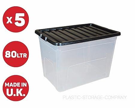 5 x 80 Litre Plastic Storage Box - Extra Large - Storage Container - Black Lid  sc 1 st  Amazon UK & 5 x 80 Litre Plastic Storage Box - Extra Large - Storage Container ...
