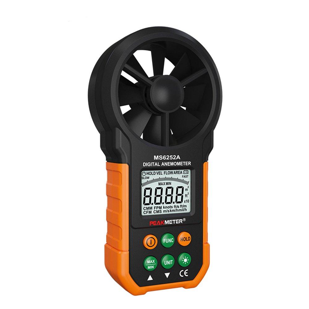Protech MS6252B Anémomètre numérique Testeurs de température d'humidité Compteurs USB Ordinateur de poche LCD Électronique Mesureur de volume d'air Rétroéclairage Peakmeter