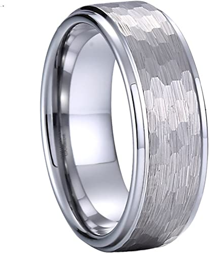 Mens Wedding Band Meteorite Ring Tungsten Carbide 8mm Engagement Band Silver Classic Domed Ring Promise Anniversary Ring Meteorite Band