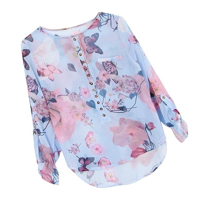 Magideal Camiseta de Mujeres Tamaño Más Floral Botón Mariposa Playa Ropa Accesorio Disfraz Tropical - Azul