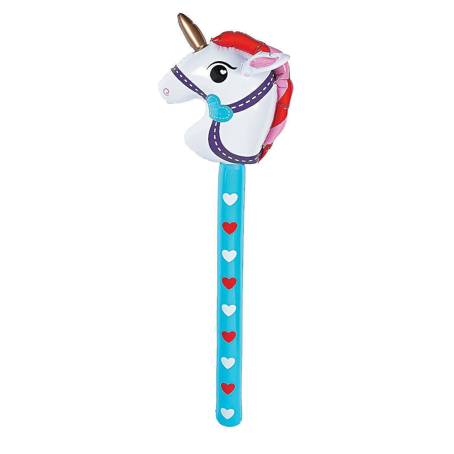 Inflatable Valentine Stick Unicorn - Vinyl. Inflated, 34'' (3 PACK)