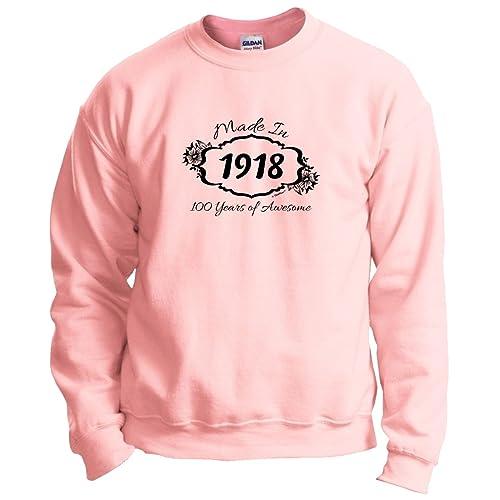 ThisWear 100th Birthday Gift Made 1918 100 Years Awesome Crewneck Sweatshirt