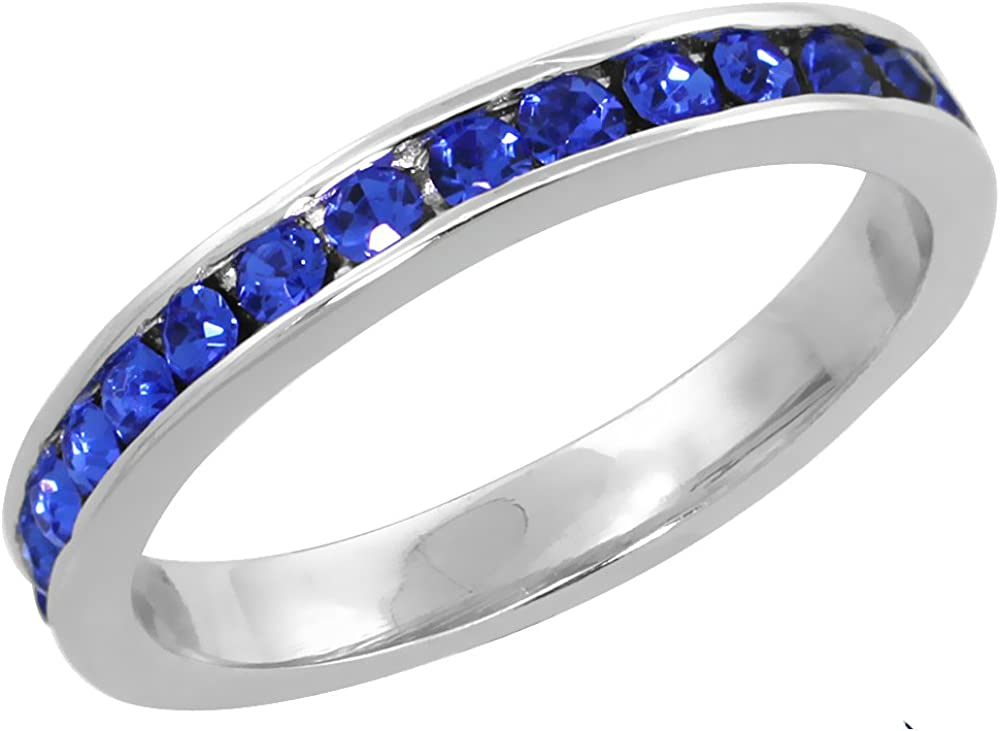 Sapphire Crystals 1//8 3 mm wide Sterling Silver Stackable Eternity Band September Birthstone