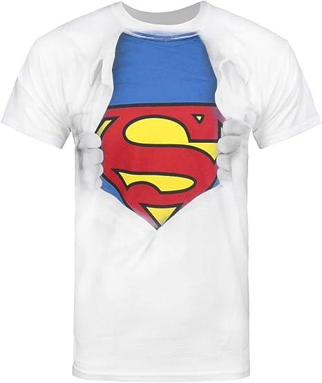 Amazon.com: Oficial Superman Ripped Pecho playera para ...