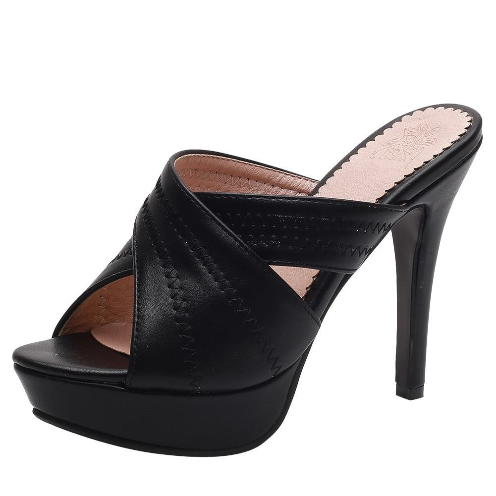 YE Damen Offene High Heels Plateau Mules Slingback Sandalen Stilettos Pantoletten Sommer Elegant Party Schuhe  39 EU|Schwarz