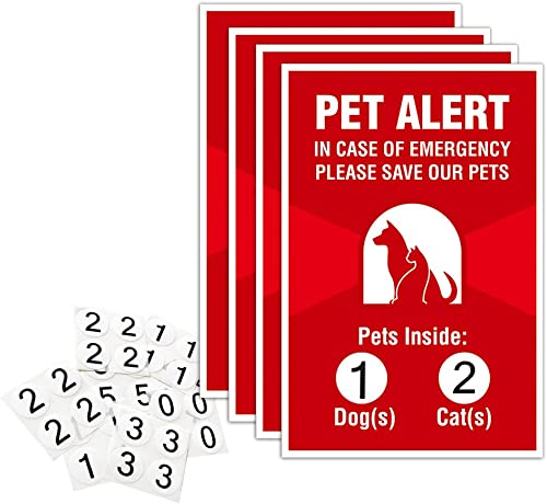 Pet Alert Sticker – 4 Pack – 4×6 inches – Safety Window Sign
