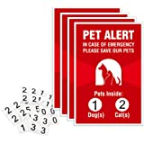 """Pet Alert Sticker - 4 Pack - 4x6 inches -""""Pets Inside"""" Safety Window Decals"""