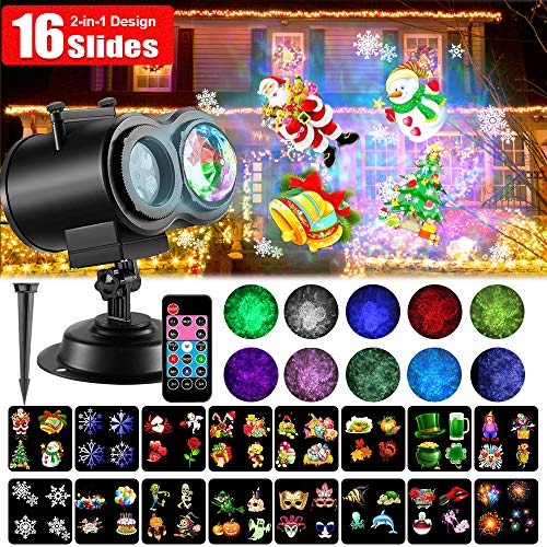 LED Christmas Projector Lights, 2-in-1 Ocean Wave Projector Light with 16 Slides Patterns 10 Colors Waterproof Outdoor Indoor Holiday for Halloween Xmas Home Birthday Party Landscape Decorations -