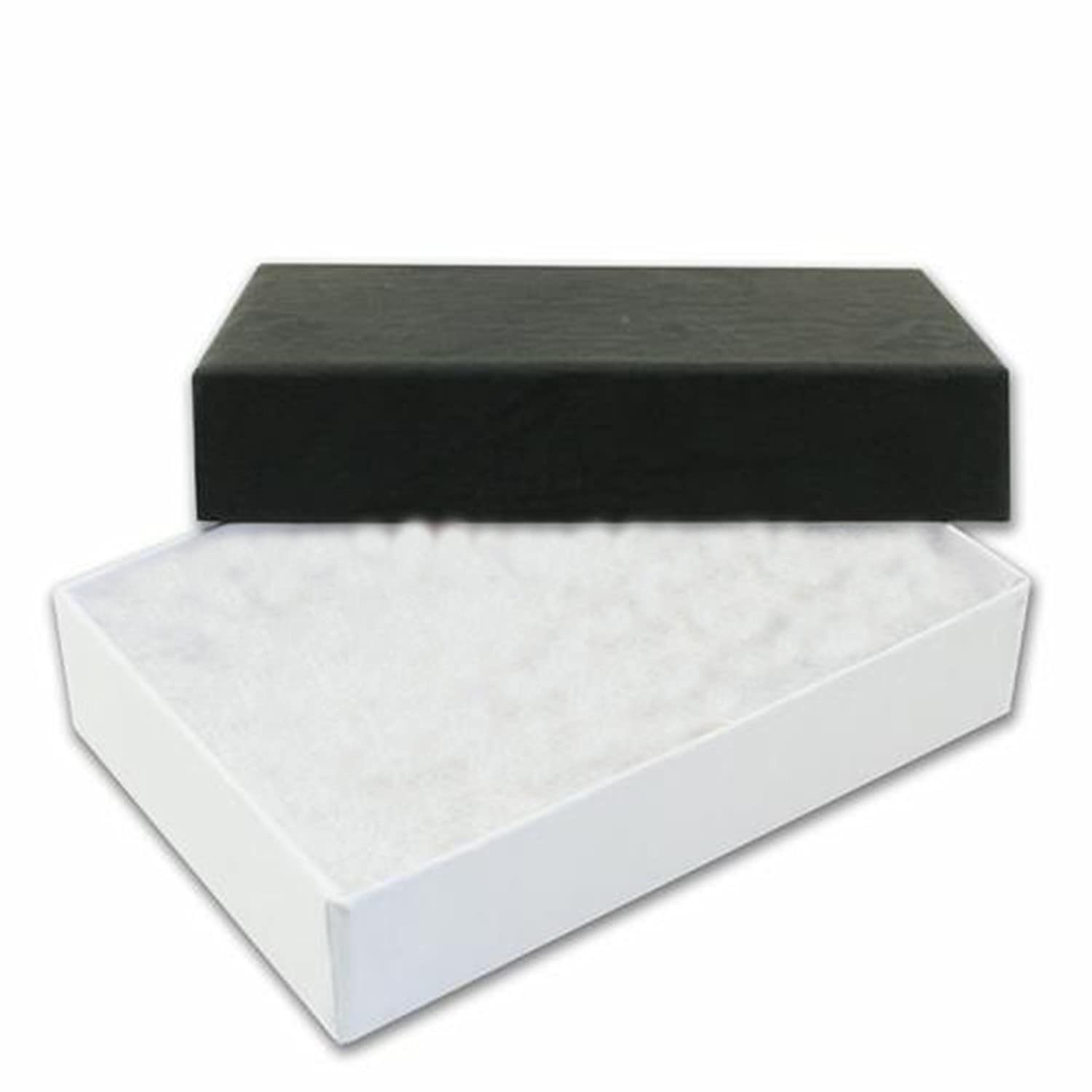 Silvadore Jewellery Handmade Cardboard Gift Boxes Cotton Filling All Sizes Black White Value Range 5 Pack Oblong Small 6cm X 4 2cm X