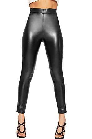 298a2efa3c867 WearAll Women's Faux Leather Wet Look Skinny Leg Pants Trousers High Waist  Ladies Pocket 6-14: Amazon.co.uk: Clothing