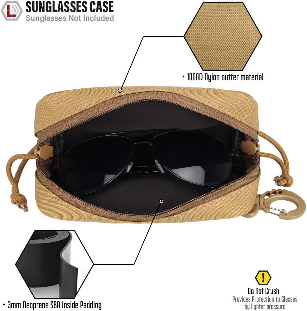 Sunglasses Pouches Eyeglasses Bag Eyewear Pack Shoulder Attachment for Accessory Portable Dual Zipper Anti-Shock UK Flag Patch Included WYNEX Tactical Molle Glasses Pouch Case