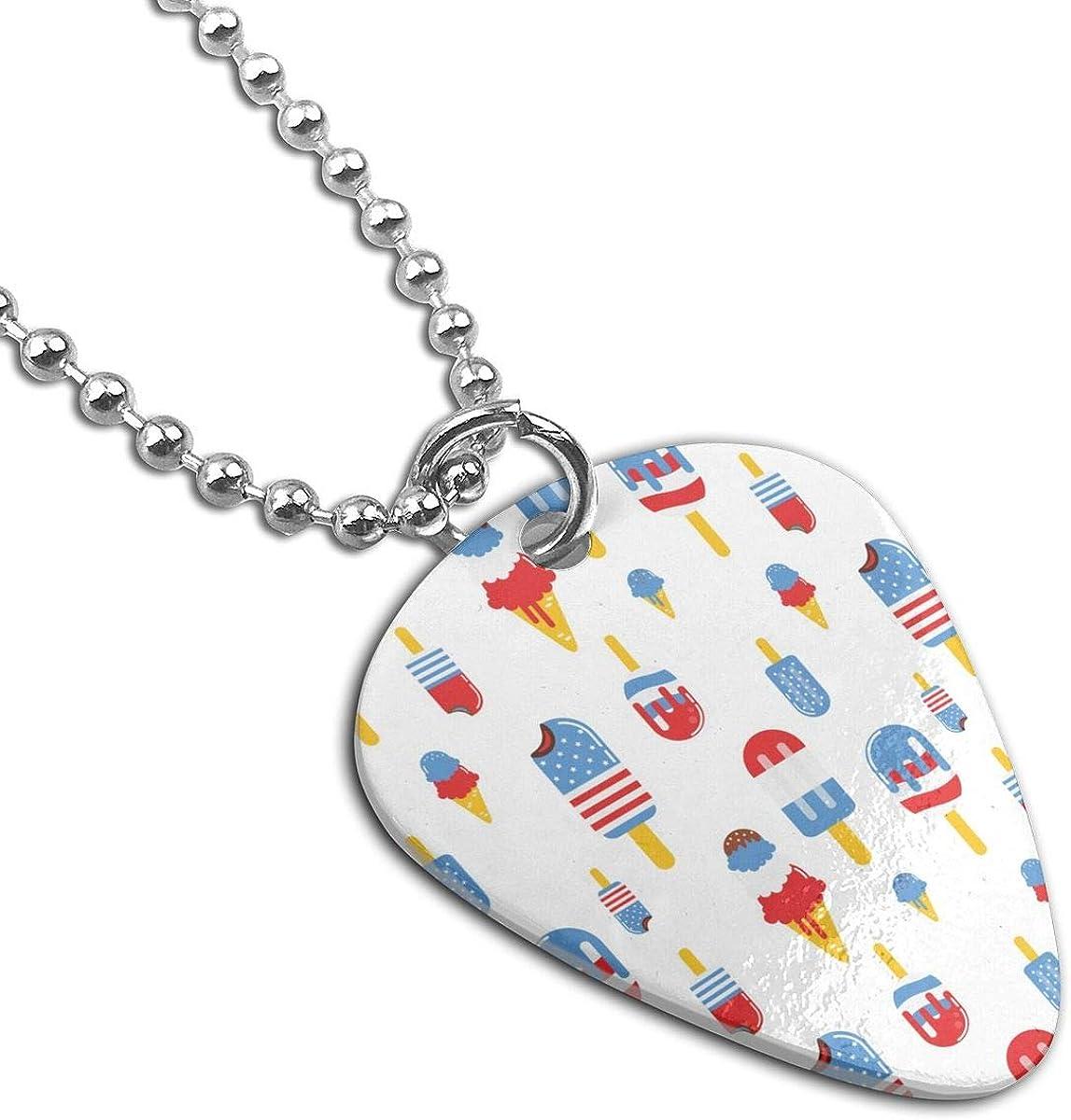USA Patriotic Ice Cream Custom Guitar Pick Pendant Necklace Keychain