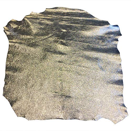 Genuine Craft Leather Hides - Top Quality Lambskin - DIY Supply - Silver Metallic Color - 7 sq ft - AVG 33¨x 28¨at longest and widest - Cracked Finish - Real Sheepskin Material - Home Decor Upholstery