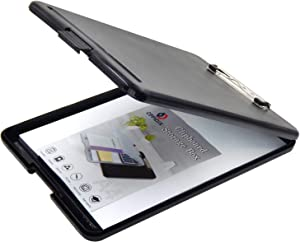OFFIDIX Clipboard Storage Box,Black Plastic Paper Clipboard Paper Holder Storage Clip Board Ideal for School, Letter Size Slim-case Storage Clipboard Home and Office Use Memo Clipboard (Black)