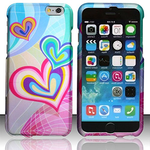 """myLife Soft Pink and Bubbly Blue {Crazy Hearts Butterfly Bubbly Colorful} 2 Piece Snap-On Rubberized Protective Faceplate Case for the NEW iPhone 6 (6G) 6th Generation Phone by Apple, 4.7"""" Screen Version """"All Ports Accessible"""""""
