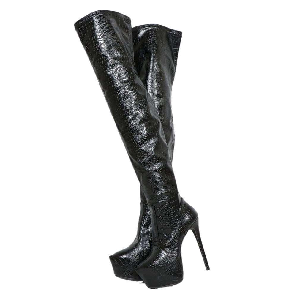Sorbern Snakeskin Style Mid Thigh High Boots for Women Custom Shaft Size