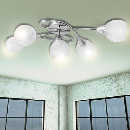 vidaXL Lámpara para techo con tulipas de vidrio 5 bombillas tipo E14
