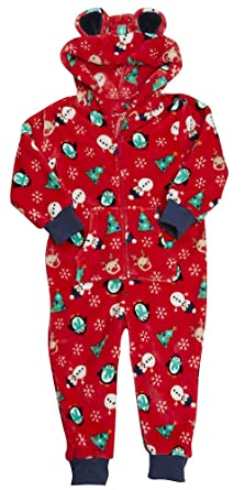 7d3424cf9560d Boys Girls Onesie Christmas Luxury Flannel Fleece Hooded Navy Blue Red  Santa Snowman Reindeer Unisex Size 2 3 4 5 6 7 8 9 10 11 12 and 13 Years   ...