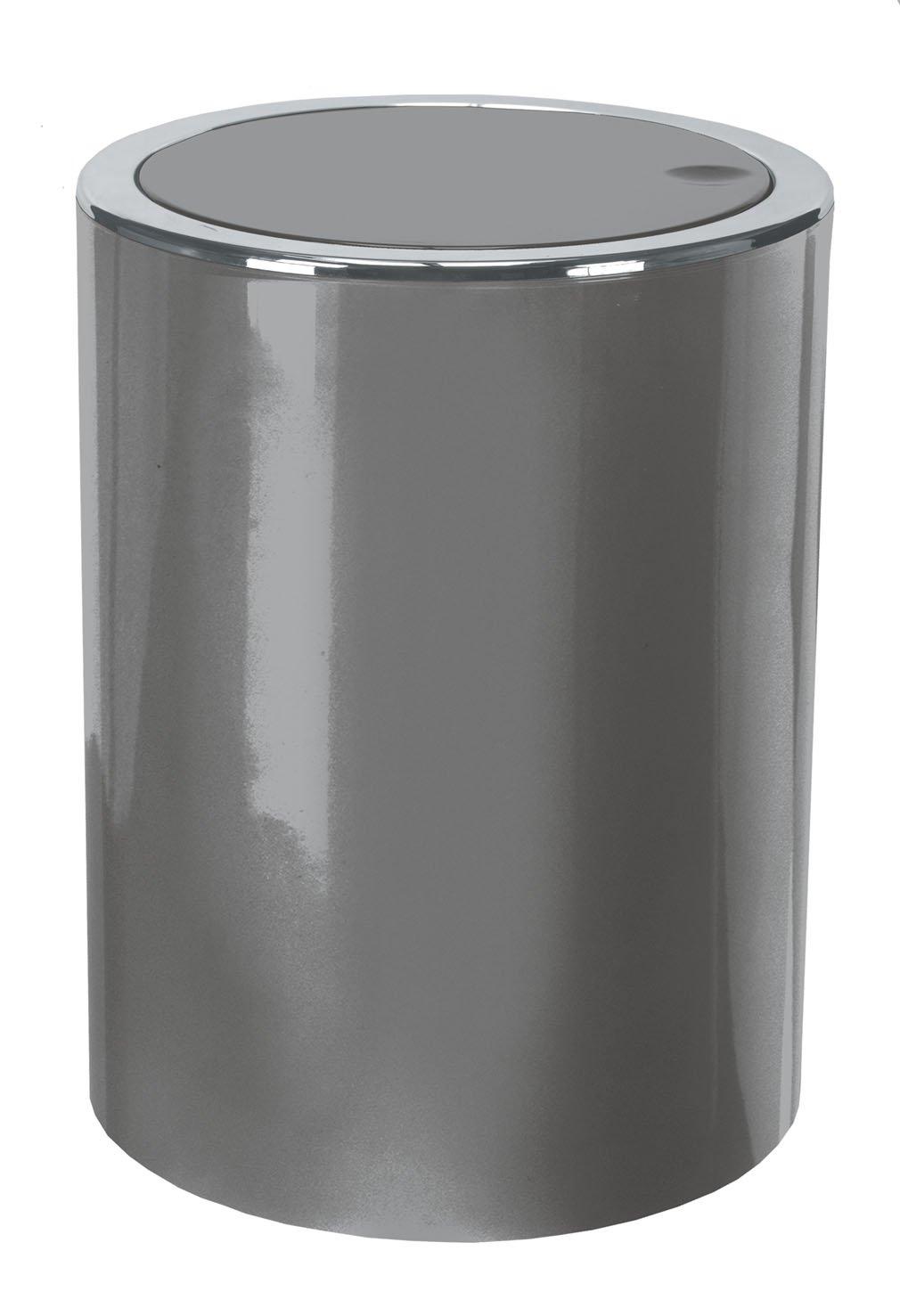jvl modern tapered laundry basket with inset handles  grey  - kw clappe ltr plastic swing bathroom bin  kitchen