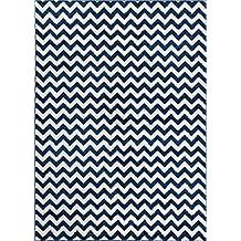 "Well Woven Sydney Eli Chevron Dark Blue Modern Area Rug 5'3"" X 7'3"""