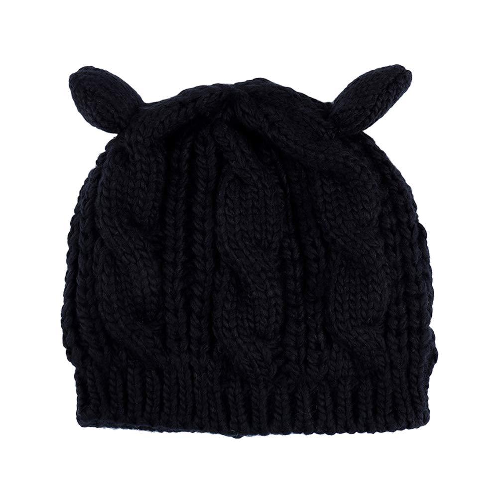 Clispeed 1pc Cappello Pullover Lavorato a Maglia Cappello di Cotone Cappello di Lana Autunno Cappello Berretto Invernale Cappello Berretto Invernale Modello Orecchio di Gatto (Nero)